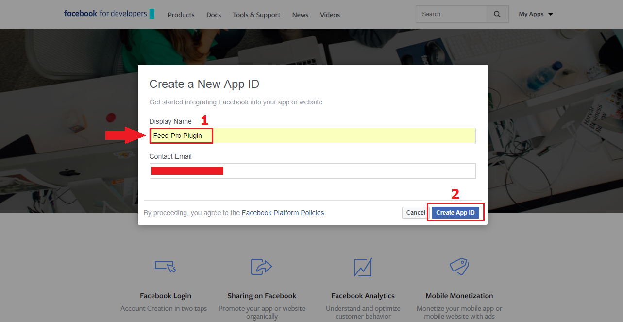 name your app get facebook app id