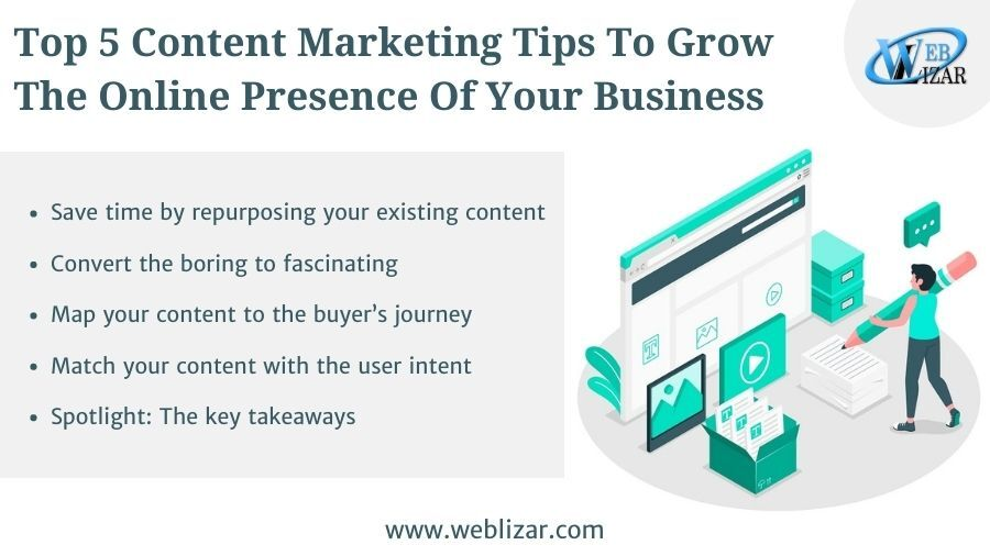 Top 5 Content Marketing Tips to Grow the Online Presence of your Business
