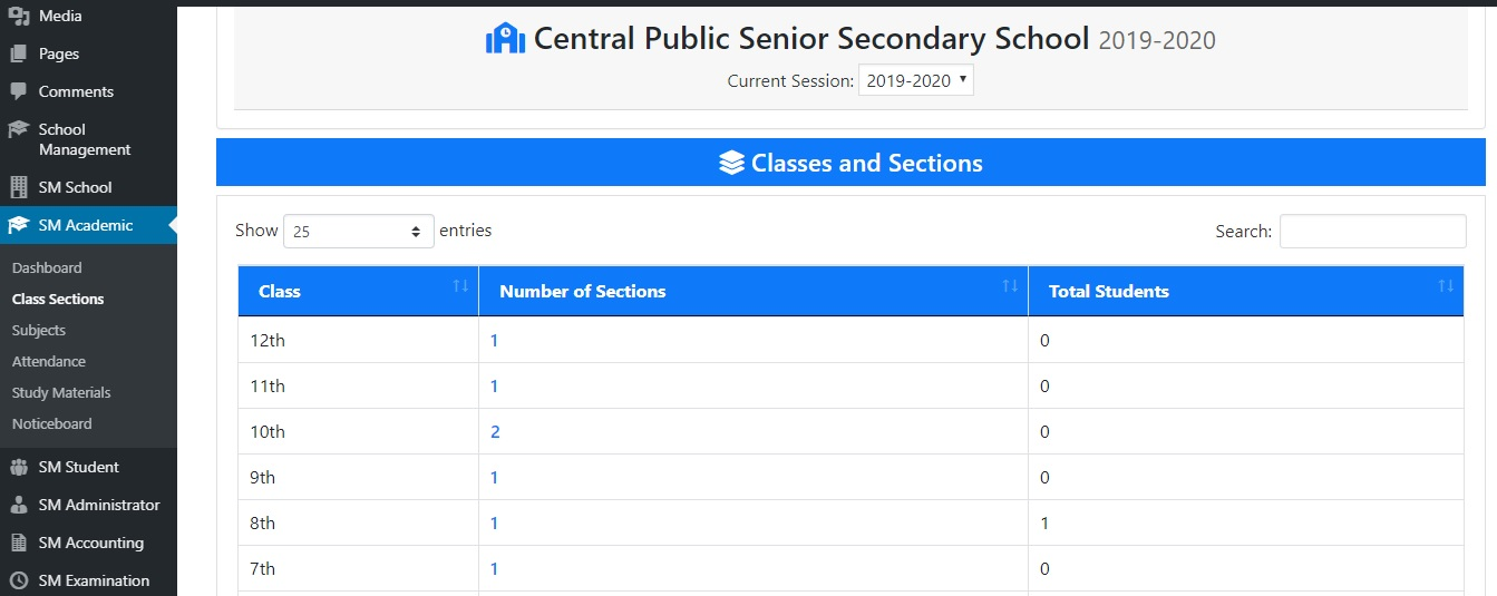 Add Class Sections