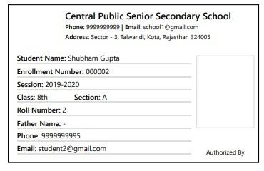 Print Student ID Card