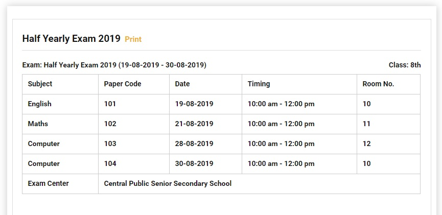 Showing Exam Time Table on a Page