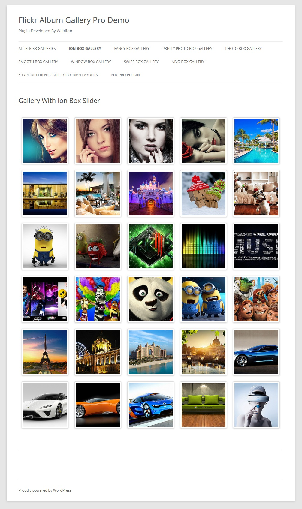 Flickr Album Gallery Preview On Page