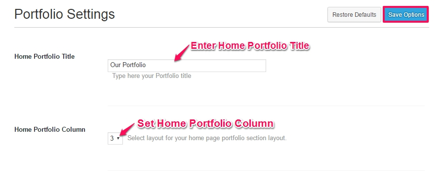 portfolio settings