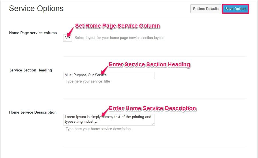 service settings