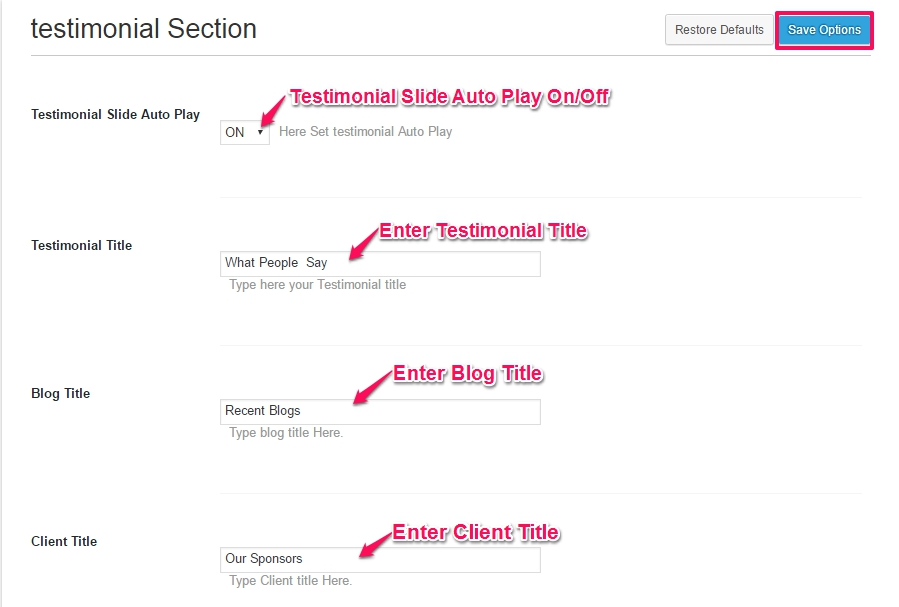testimonial settings
