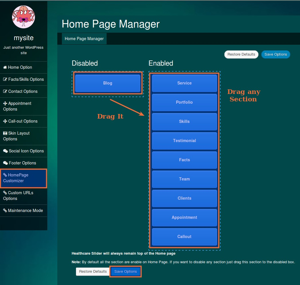 home page manager