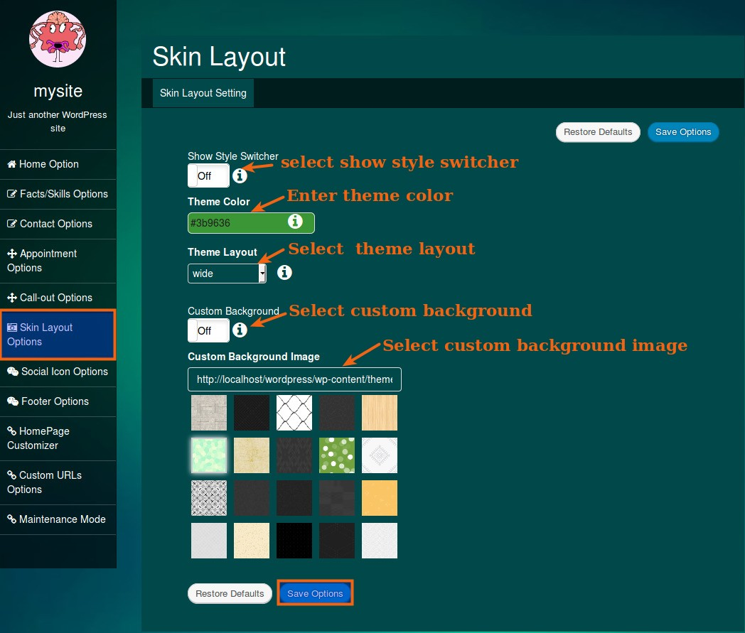 skin layout