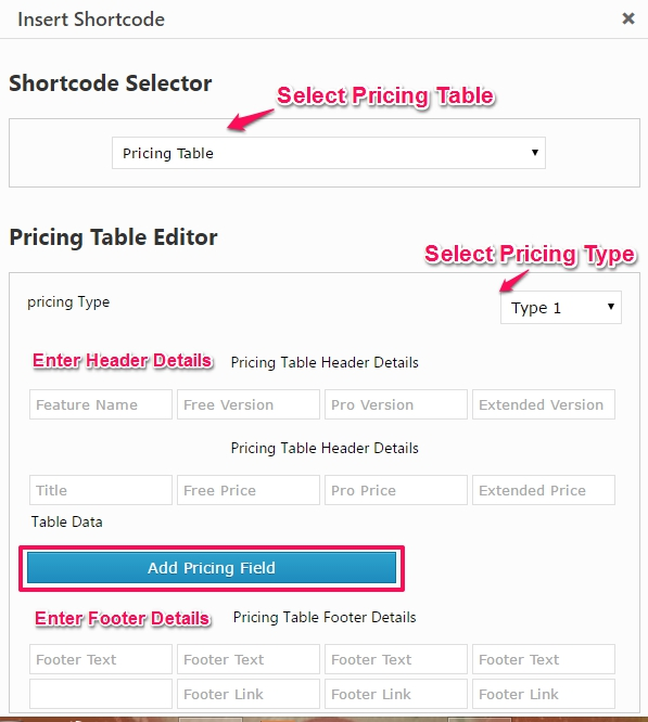 add pricing table