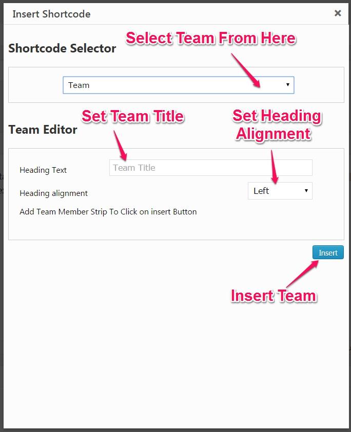 team shortcode