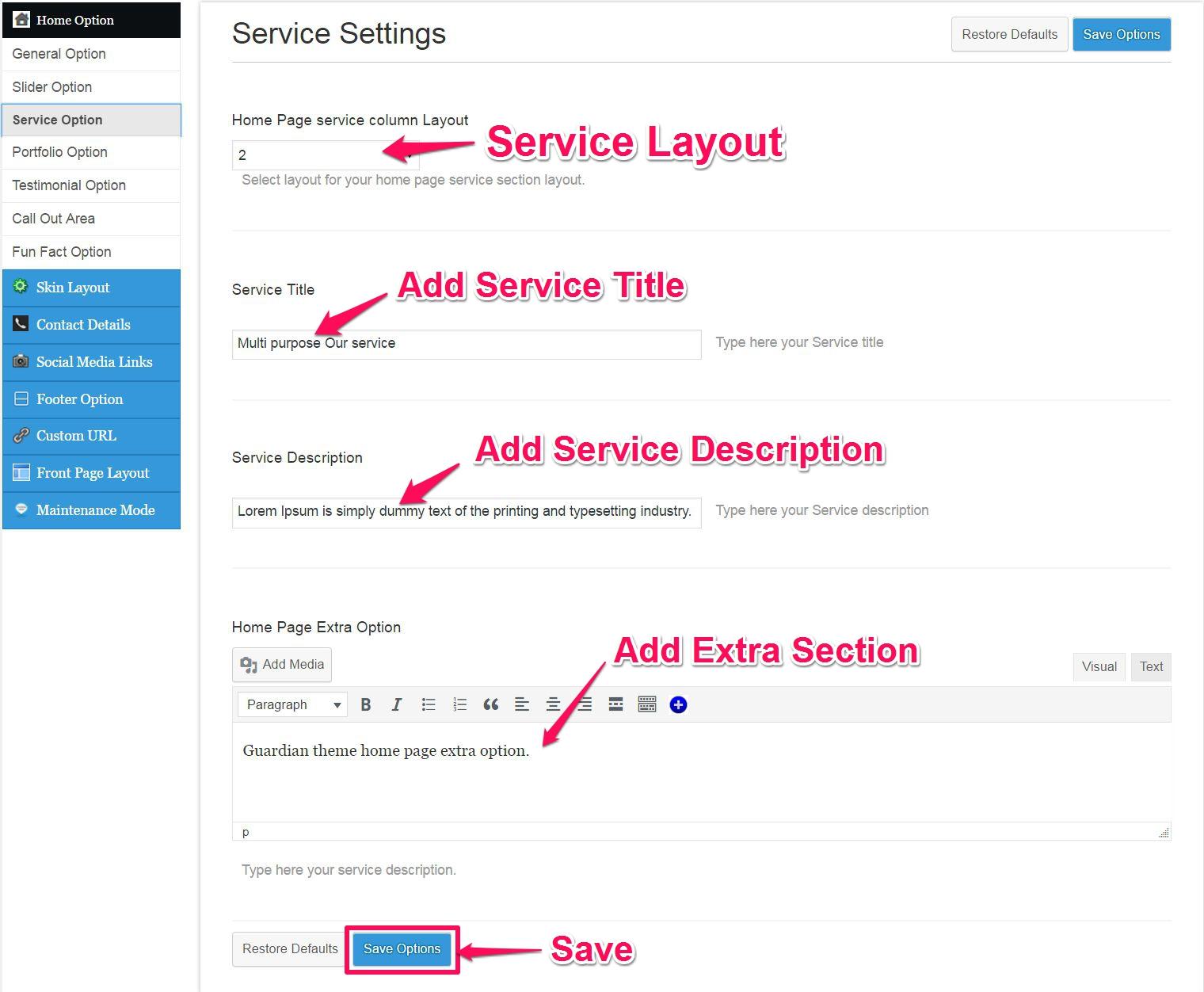 service setting