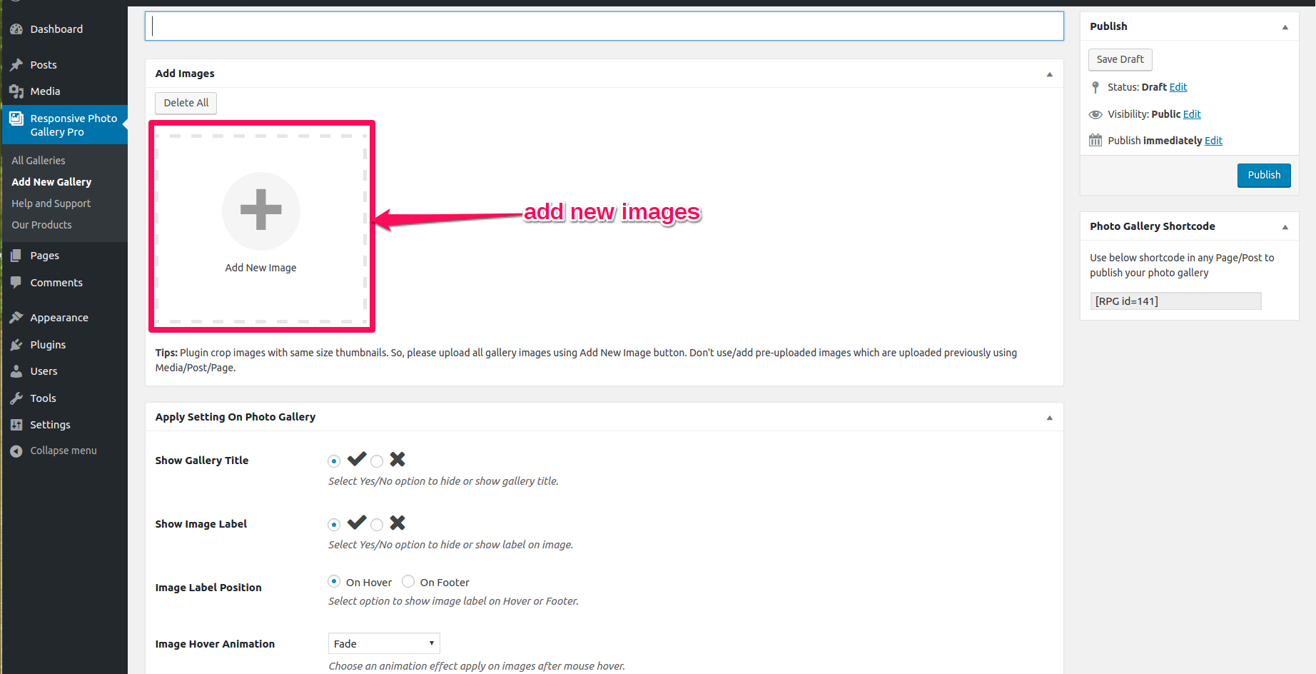 Add Images Into Photo Gallery Plugin