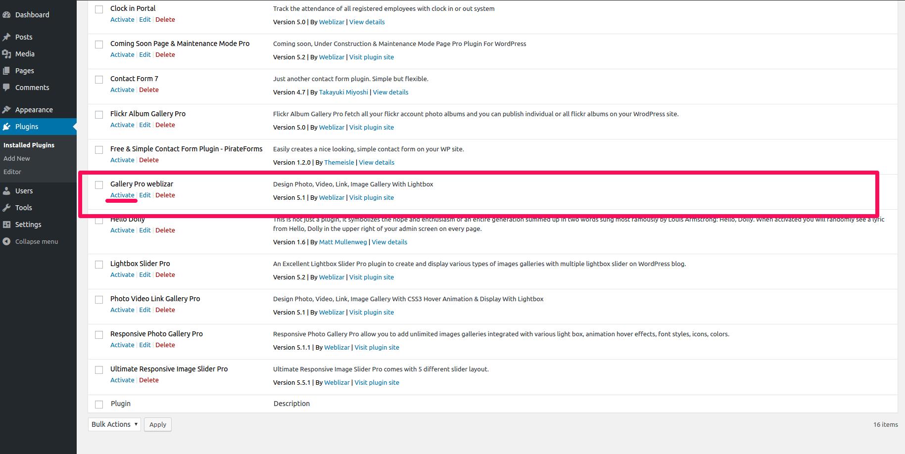 Gallery Pro | Weblizar Themes & Plugins Documentation
