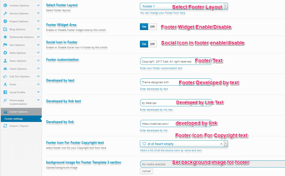 Footer-setting