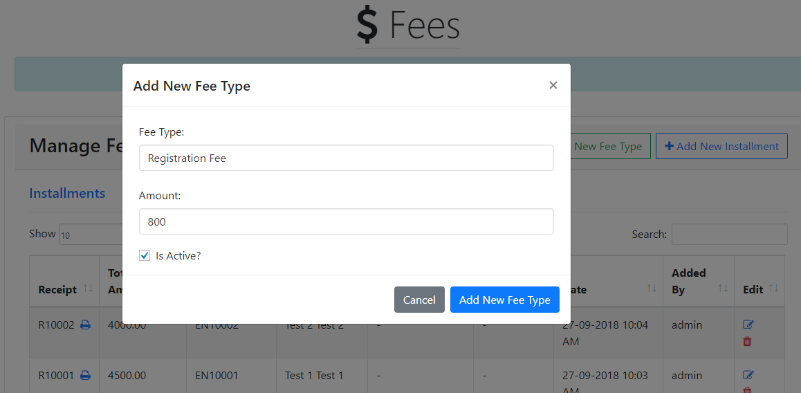 Instittue Management Add New Custom Fee Type
