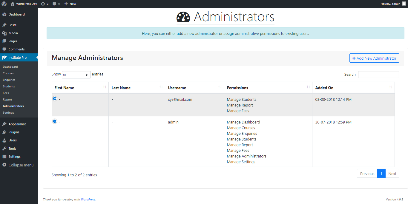 Institute Management Add an Administrator