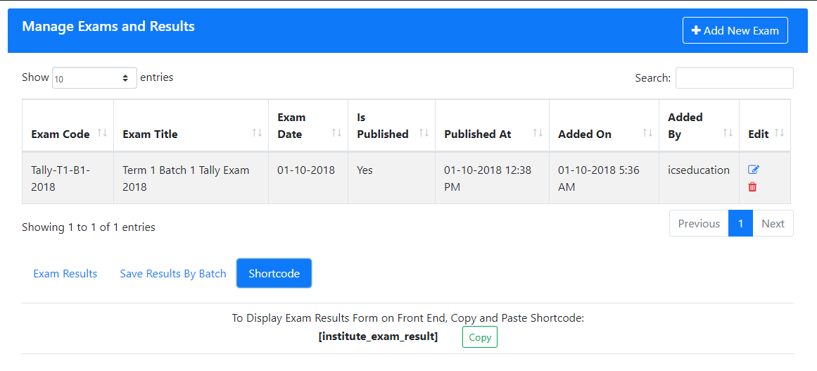 Instittue Management Display Exam Result