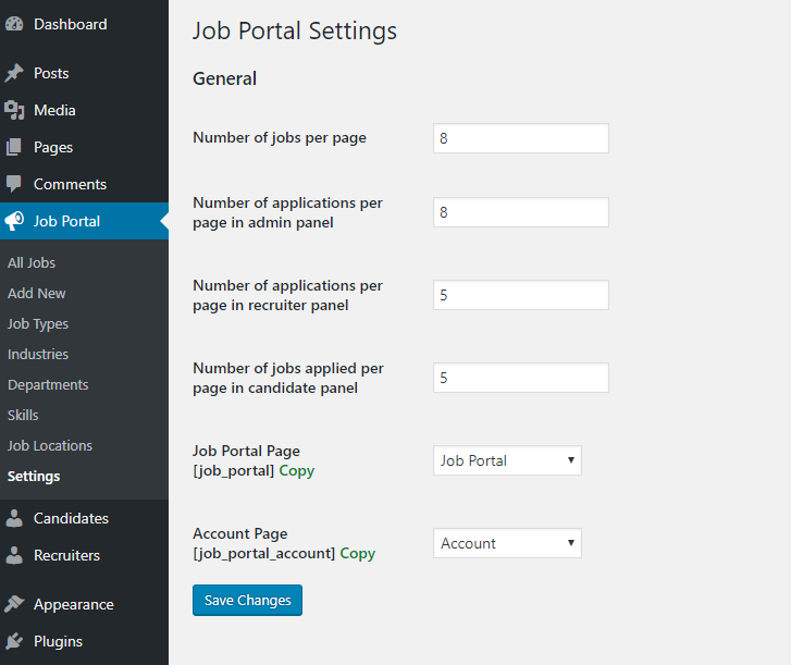 Job Portal Settings