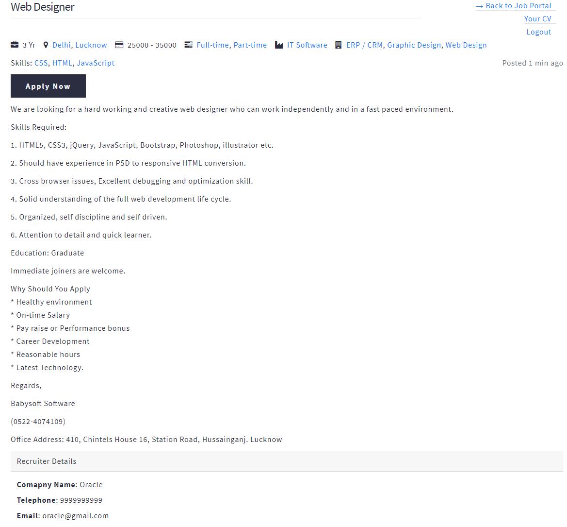 Job Portal Candidate Apply Job