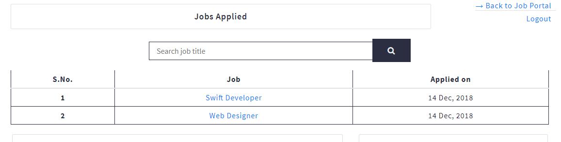 Job Portal Candidate View Jobs Applied