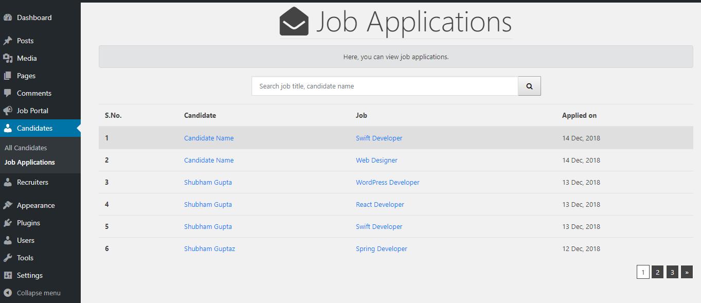 Job Portal Admin View Applicants