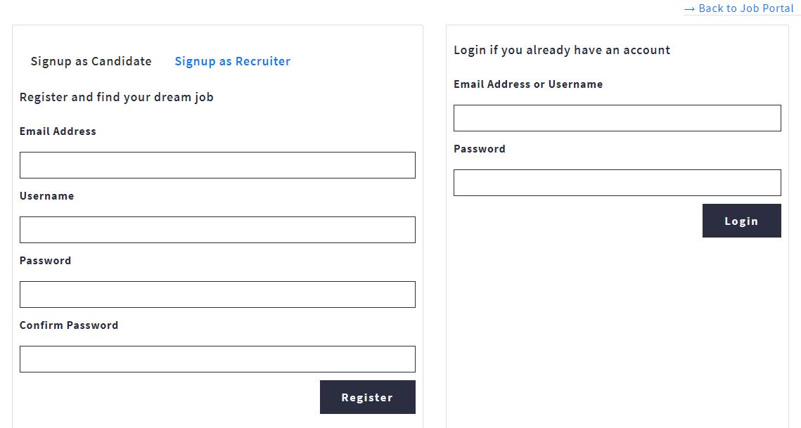 Job Portal Signup and Login
