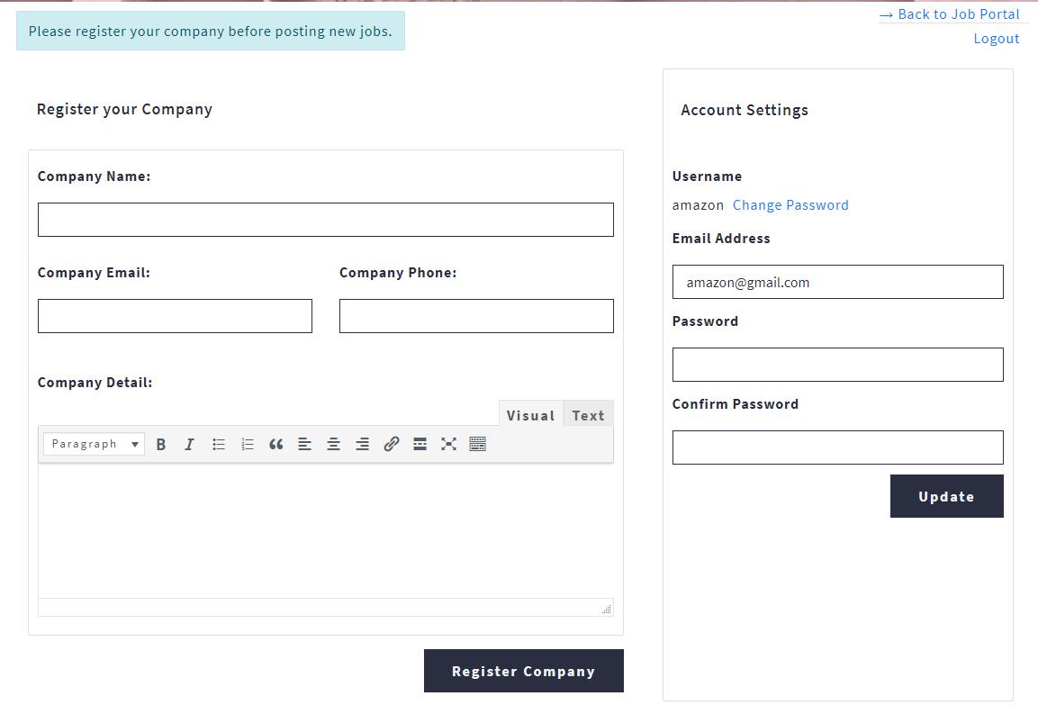 Job Portal Recruiter Register Company