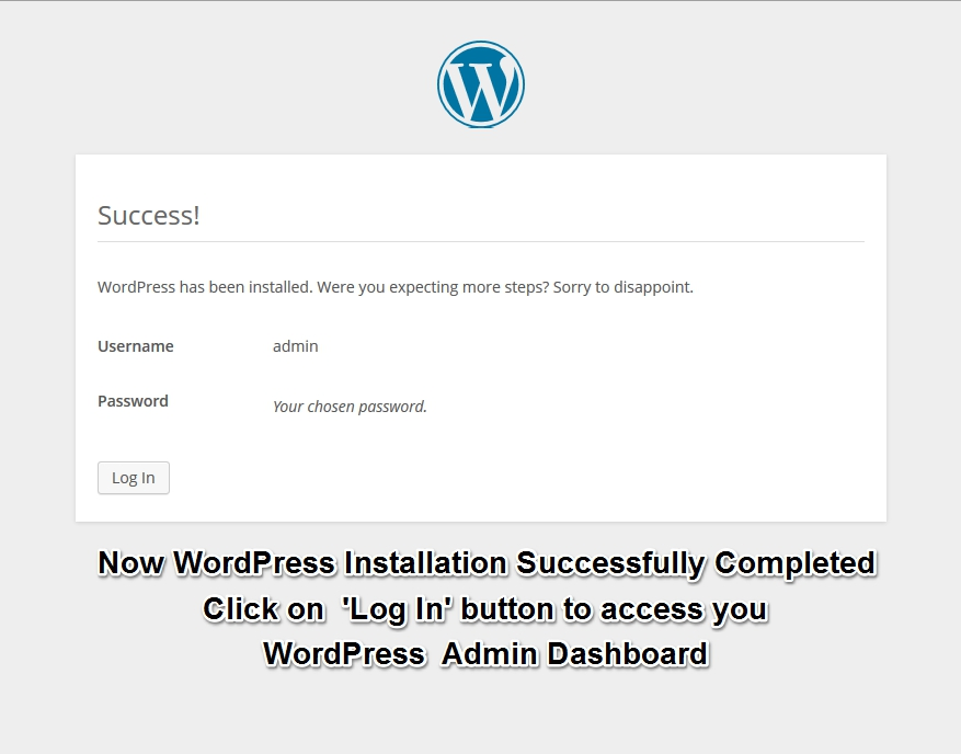 WordPress Installation Completed Successfully