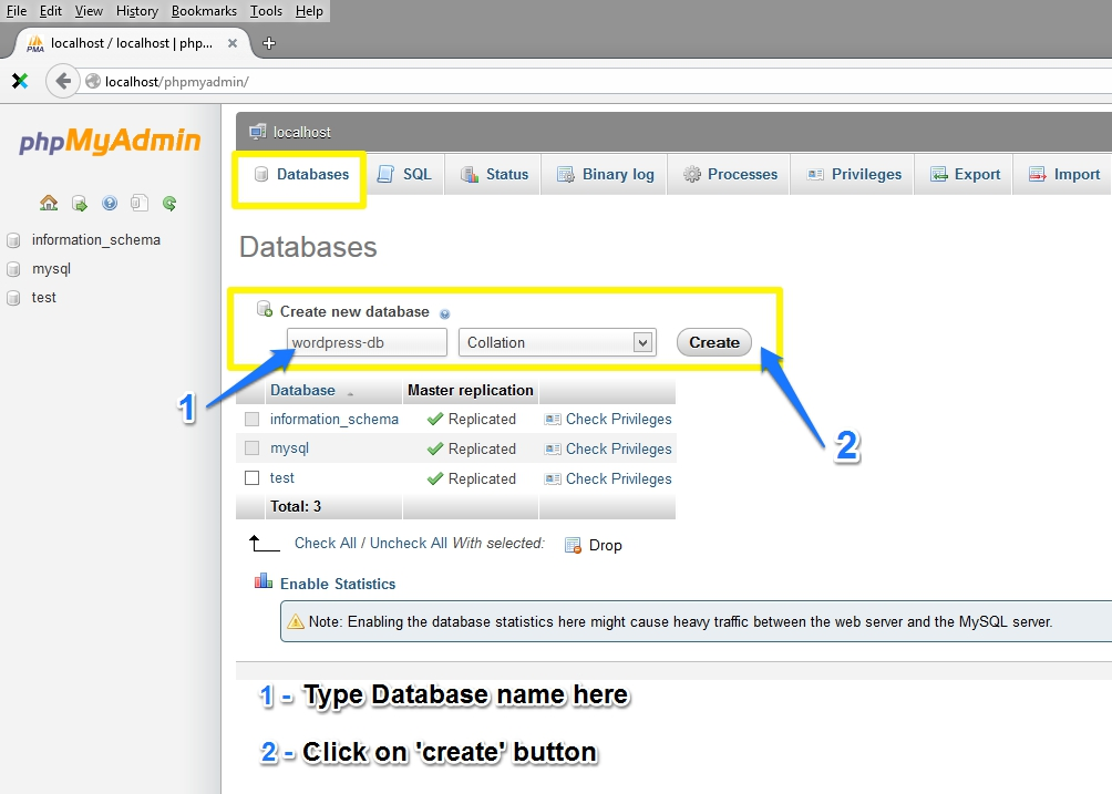 "Create New Database - ""wordpress-db"""