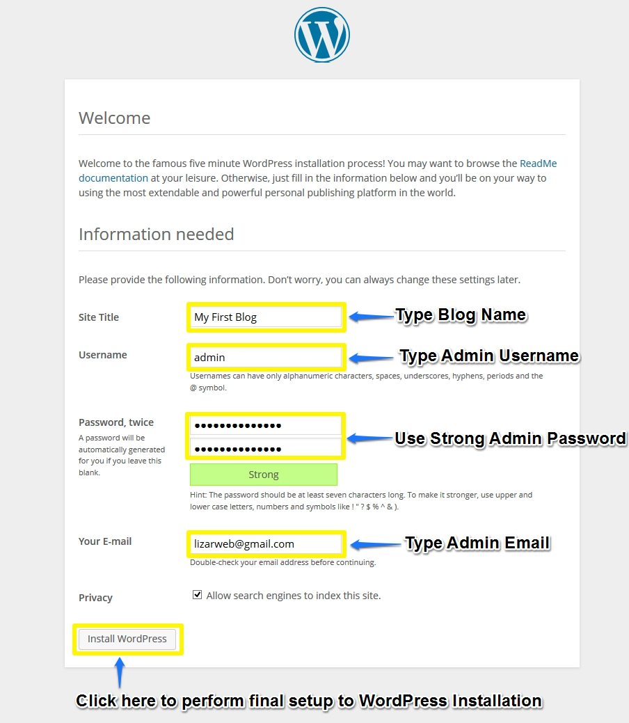 Fifth Screen of WordPress Installation