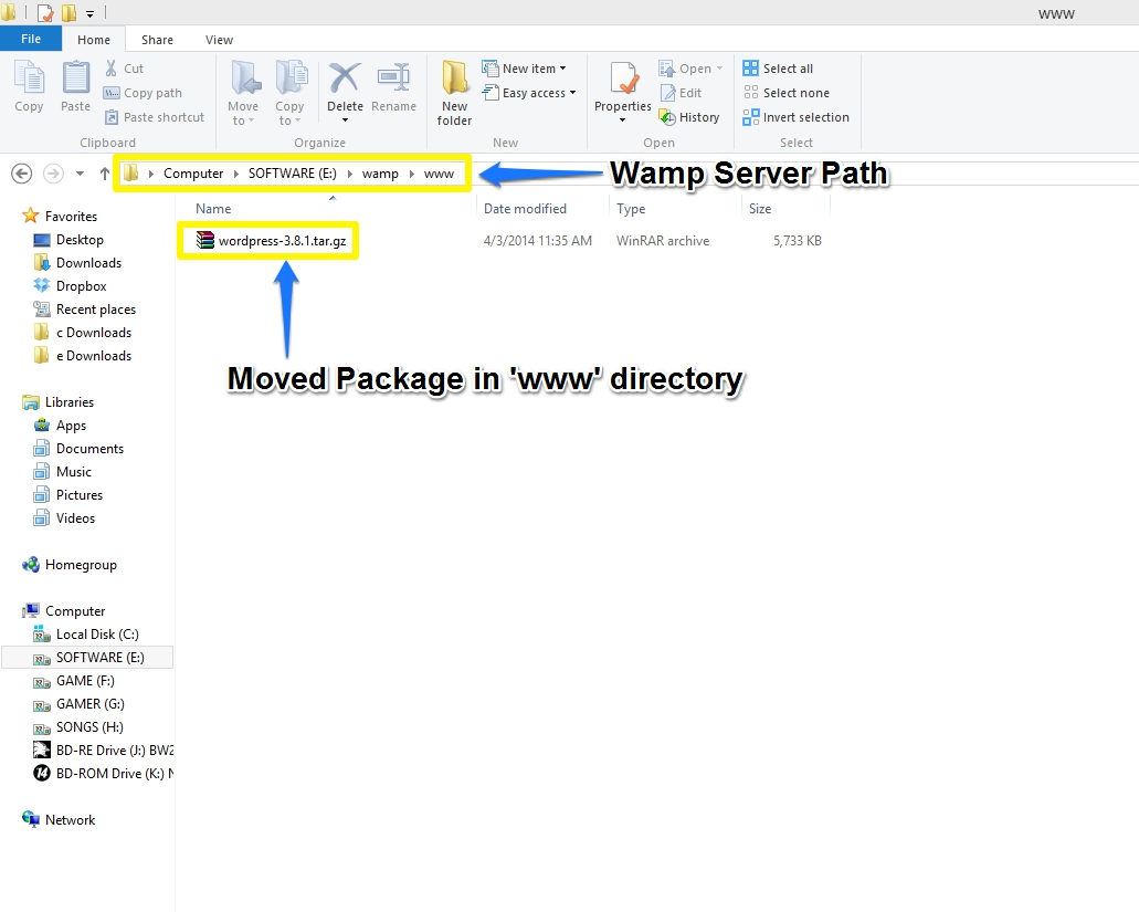 How to install wordpress in wamp server wordpress package moved in wamp www directory baditri Gallery