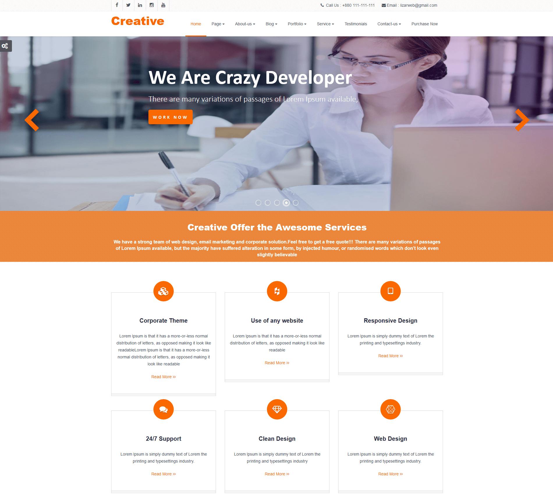 Responsive Creative Premium WordPress Theme Weblizar