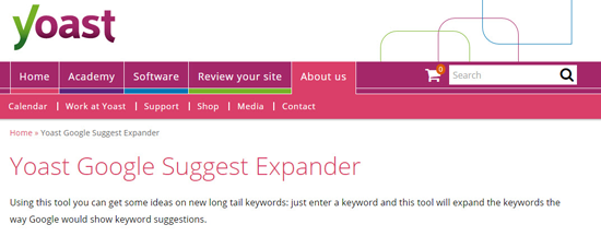 Yoast suggests keyword tool