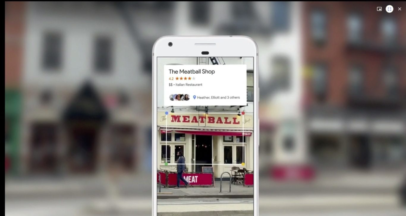 google lens and google home demo where google lens is showing information about storefronts near you
