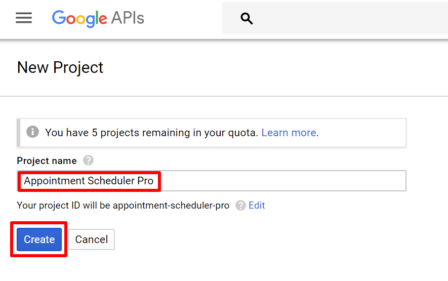 google api name the project and create